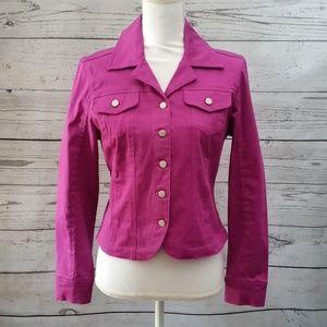 Live a Little Purple Cotton Fitted Jacket Petite